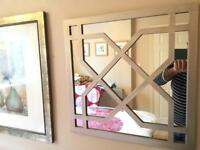 Wall mirrors silver chrome artwork x2 pair