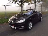 2005 Black peugeot 206 convertible 1.6 petrol with service history&long MOT