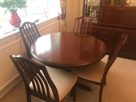 Mahogany Extendable Dining Table & Cabinet