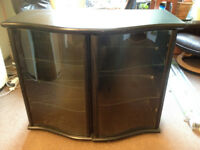 Dansh Ash black sideboard, good condition. Glass doors and shelves are a feature