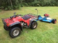 Honda trx300fw quad bike and Wessex towable topper ride on mower