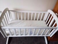 John Lewis White Anna Swinging Crib & Matress