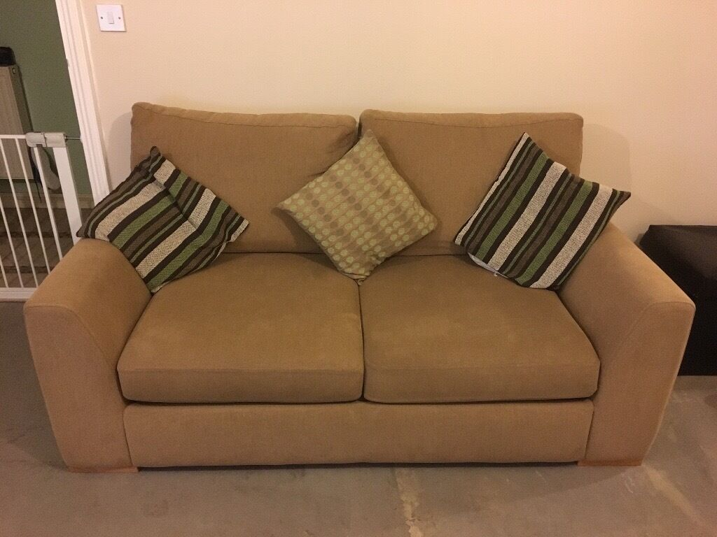 3 seater sofa & 2 seater sofa bed in dark sand MUST GO