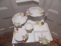 Set of Portuguese Pottery Tableware with Fruit Decoration - bowls, plates & tray