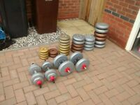 Selection of weights and Dumbells. Over 100KG. Good Condition