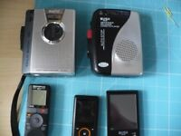 Collection Of MP3 players, Cassette player and recorder, and digital voice recorder