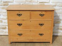 Solid Oak chest of drawers Brass Handles (Delivery)