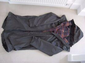 Mens Jack Murphy Long Raincoat Dark Navy with Check Lining - Size XXL