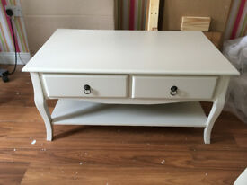 Brand New 2 Drawer Coffee Table In Ivory, Boxed New
