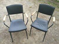 pair of mid century industrial military school armchairs