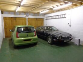 Single car space available in large modern garage.