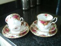 Royal Albert Old cups, saucers and plates