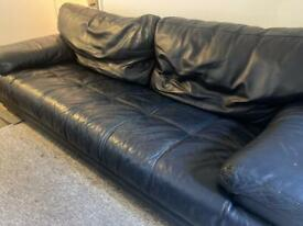LARGE LEATHER SOFA in navy