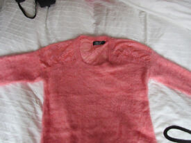 LADIES JUMPER Super softpeach fluffy ladies jumper with lace insert. As new. PUSSYCAT Of LONDON