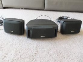 AIWA HiFI SURROUND SOUND SPEAKERS TWO SX-R210 + 1 SX-C300 CENRE SPEAKER WITH WIRES -TESTED/WORKING