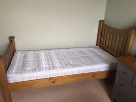 Single solid oak bed with mattress