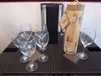 6 x Large Wine Glasses & Wine Bottle Holder