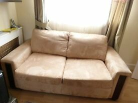 Faux suede 2 seater sofa with matching armchair
