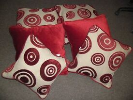 Red Patterned & Plain Cushions x 6