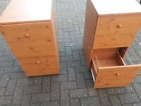 2 brown wood solid 2 drawer filing cabinets