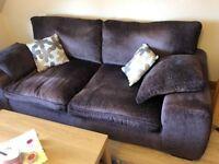 Three Seater Fabric Sofa in Dark Brown