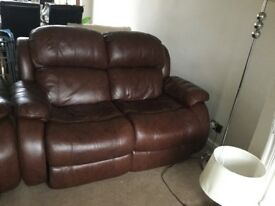 Brown leather recliner sofa and chairs