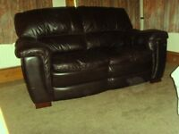 2 Seater faux leather Sofa & matching Armchair: Dark Brown, Very Good condition