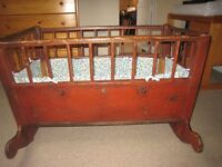 Antique Wooden Rocking Crib with removable side