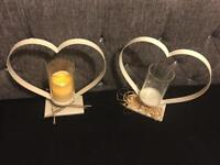 Candle holders metal heart shape