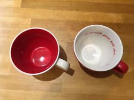 Jamie Oliver cups, beautiful for two people to share a cosy nightcap together. One red and one cream