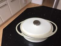 Brand new large cream cast iron casserole pot
