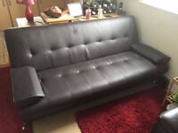 Coffee Brown Leather Sofabed