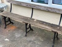 Vintage wooden cast iron bench