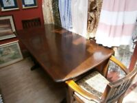Ercol dining table and six chairs