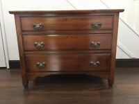 MAHOGANY CHEST OF THREE DRAWERS WITH ART NOUVEAU HANDLES