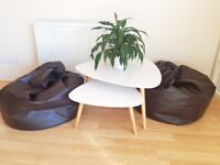 Leather Beanbags - Brown