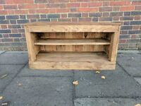 Rustic Media TV Unit / Shoe Storage bench. Handmade from Reclaimed Wood