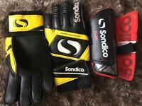 Football gloves and shin guard