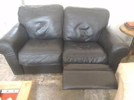 Double recliner two seater leather sofa for sale