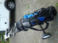 Bay Hill right hand golf clubs with trolley , umbrella and bag.