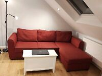L-shape sofa with plenty of storage, make it double bed. Good conditions. Chaise longue. Wimbledon