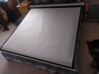 Manual Projection Screen 160 x 160 cm Mat White 1:1 for Home Cinema