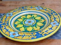 BEAUTIFUL LARGE PLATTER FROM PORTUGAL IN YELLOW AND BLUE 45 CMS DIA.