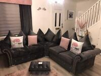 Corner sofa plush velvet