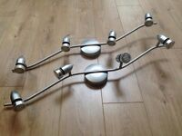 Used good condition Homebase Hardy Wave spotlight bar (silver effect) with 4 bulbs x 2