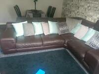 Brown Italian leather corner sofa