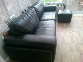 Black leather 4 seater couch