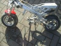 Mini Moto Frame with Forks wheels/ tyres/brakes/rear cog see picture