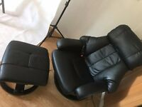 black leather recline massage chair with stool