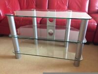 CLEAR TEMPERED GLASS TV STAND WITH CABLE TIDIES..CAN DELIVER GLASGOW